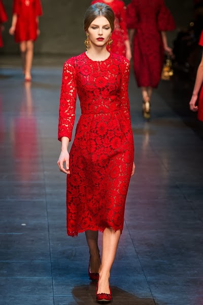 Dolce & Gabbana 2013 AW Red Lace Dress