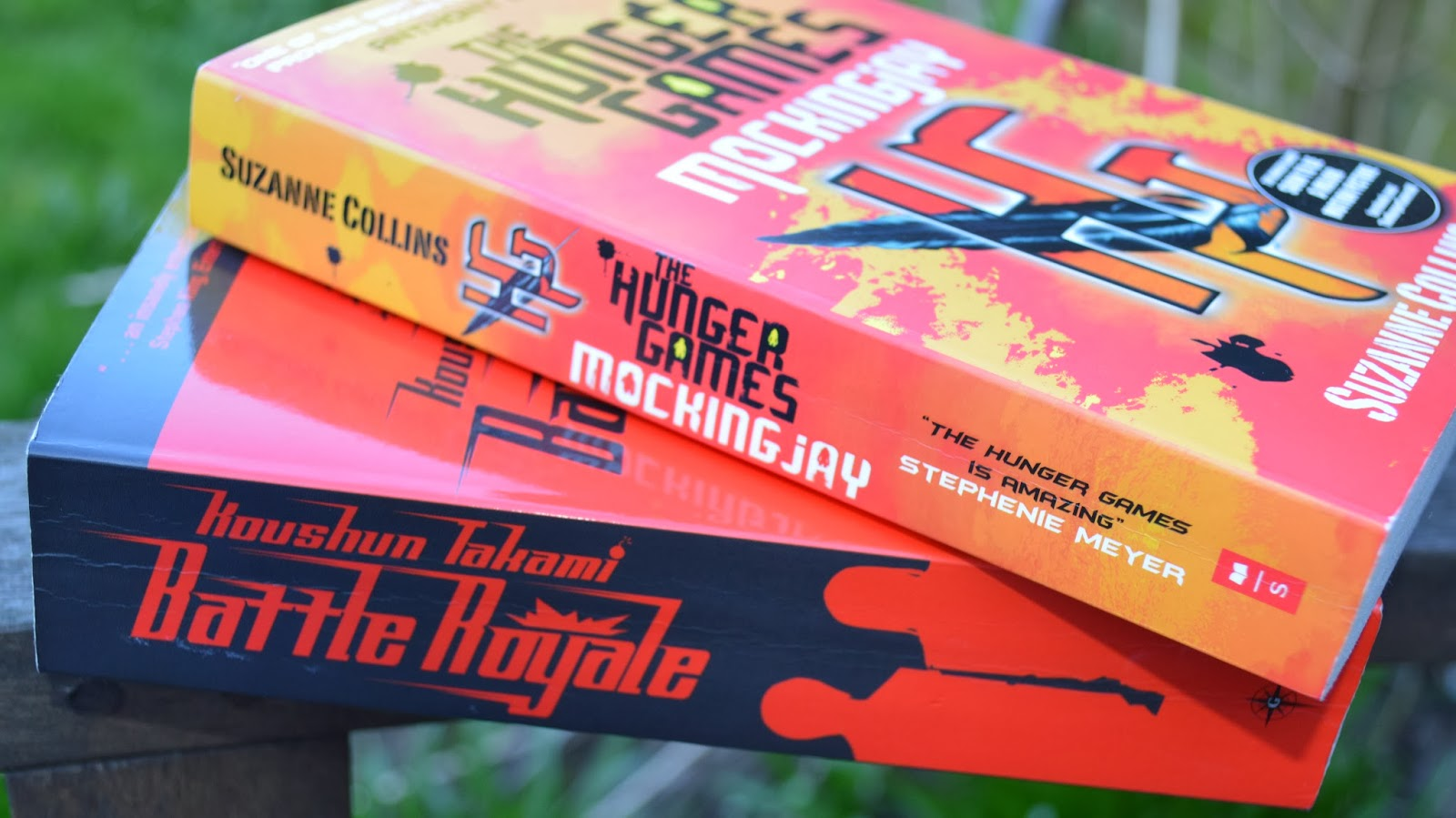 The Hunger Games, Mockingjay, Battle Royale, Koushun Takami, Japanese literature, fiction, American Literature, translation, book cover, book spines, review, book&cuppa, Book and a cuppa, bookandacuppa book & a cuppa