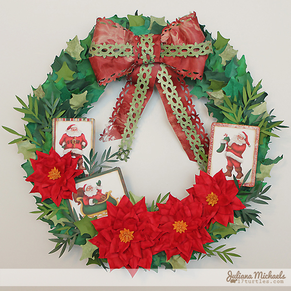 Santa Christmas Wreath by Juliana Michaels #papercrafting #cricut #christmaswreath
