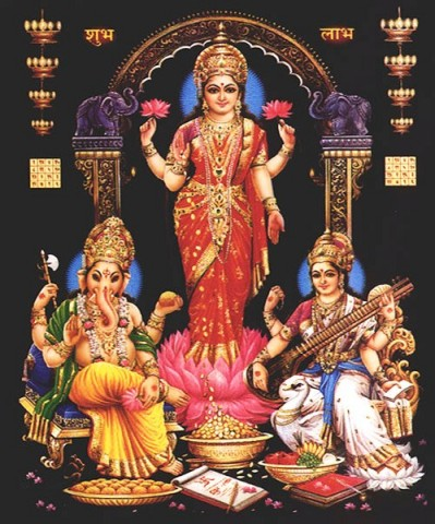 Lord Ganesh with Lakshmi & Saraswathi