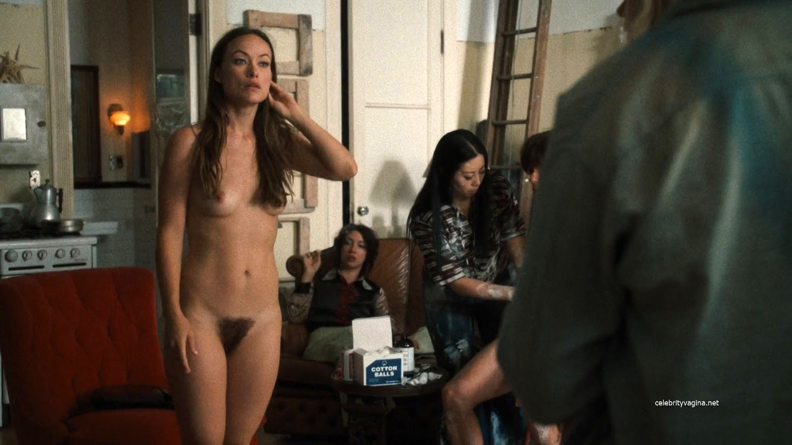 Olivia Wilde shows hairy pussy in Vinyl