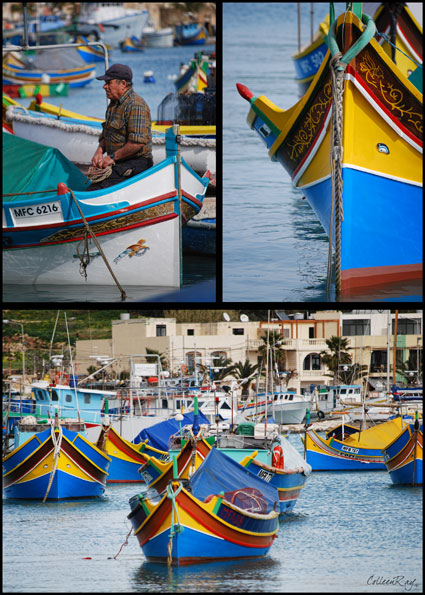 Postcard style of Marsaxlokk, traditional Maltese fishing village and Luzzu boats