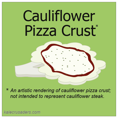 Cauliflower Pizza Crust, Vegan Gluten Free Cauliflower Pizza Crust, Dairy Free Cauliflower Pizza Crust, Egg Free Cauliflower Pizza Crust, An artistic rendering of cauliflower pizza crust; not intended to represent cauliflower steak