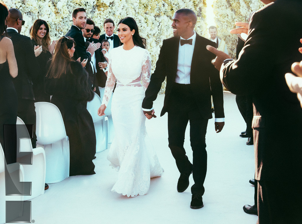 Kim Kardashian and Kanye West walking down the aisle