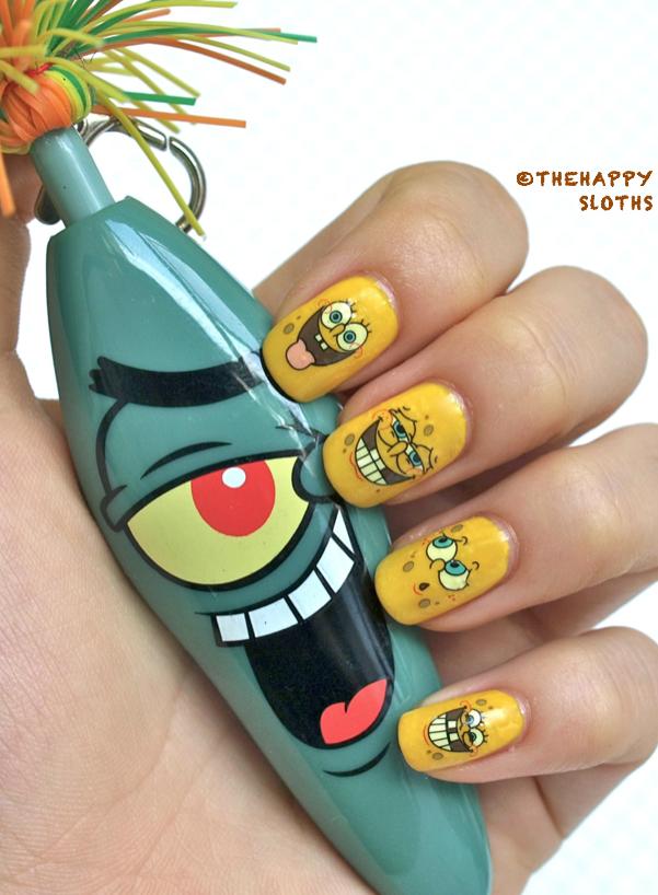 Spongebob Nails Manicure Featuring Spongebob Water Decal Nail - Spongebob nail decals
