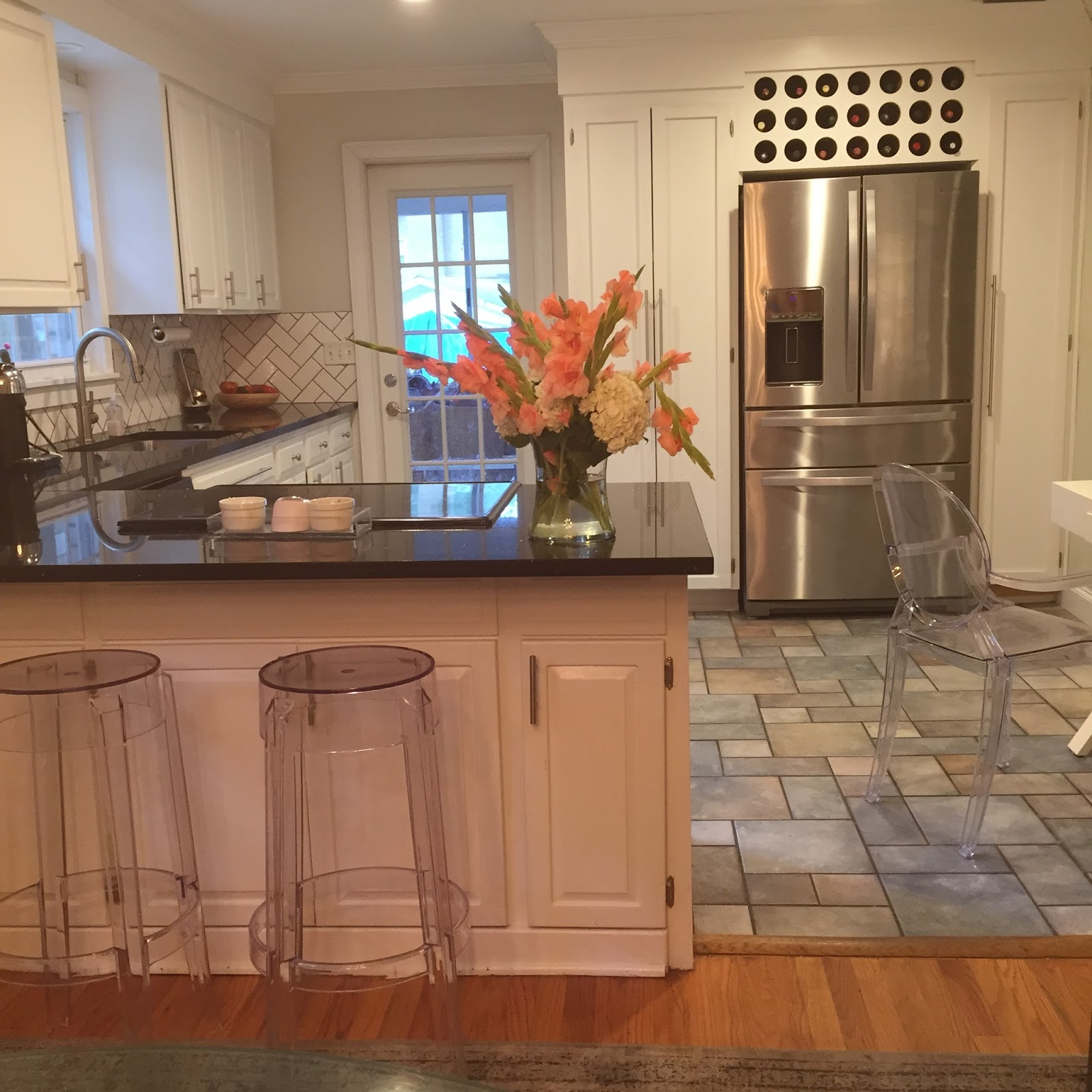 It Opens Right Into Our Dining Room After Knocking Down The Cabinet In Middle I Was Able To Buy Bar Stools And Use Counter Tops As An Island