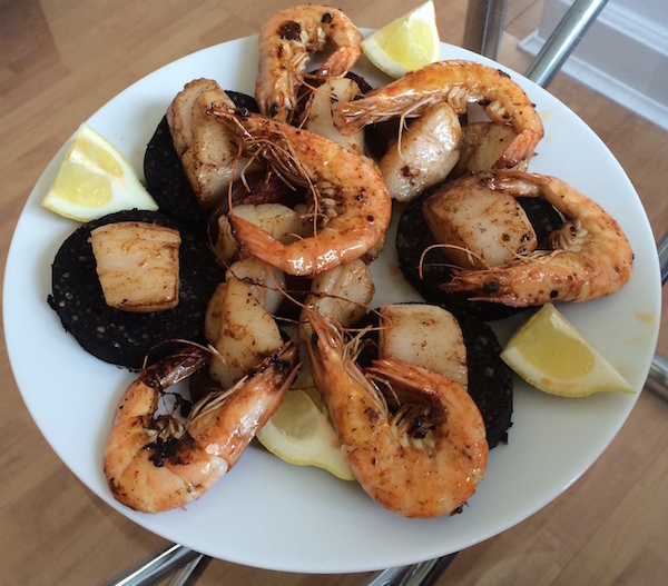 Prawn, scallops and blackpudding