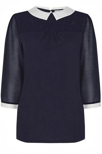 navy white collar top