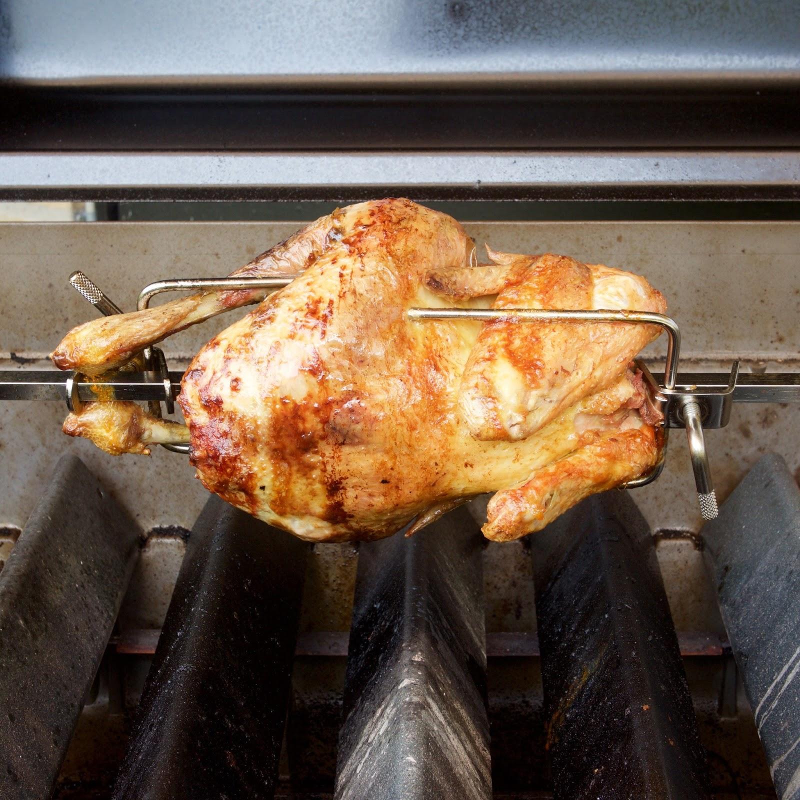 Kylling på gasgrill rotisserie temperatur