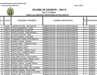 Ingresantes examen UNAMAD 2015-2 Universidad Amazónica de Madre de Dios, domingo 9 de Agosto