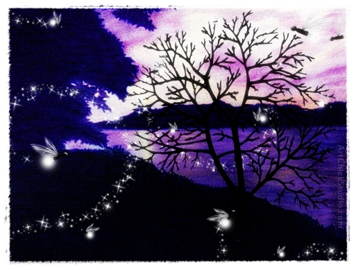 Fireflies at Sunset Digital Art