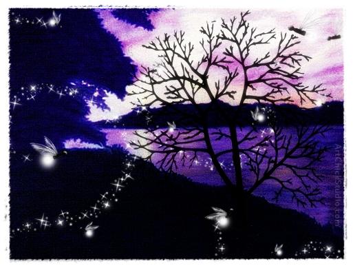 Fireflies at Sunset Digital Art