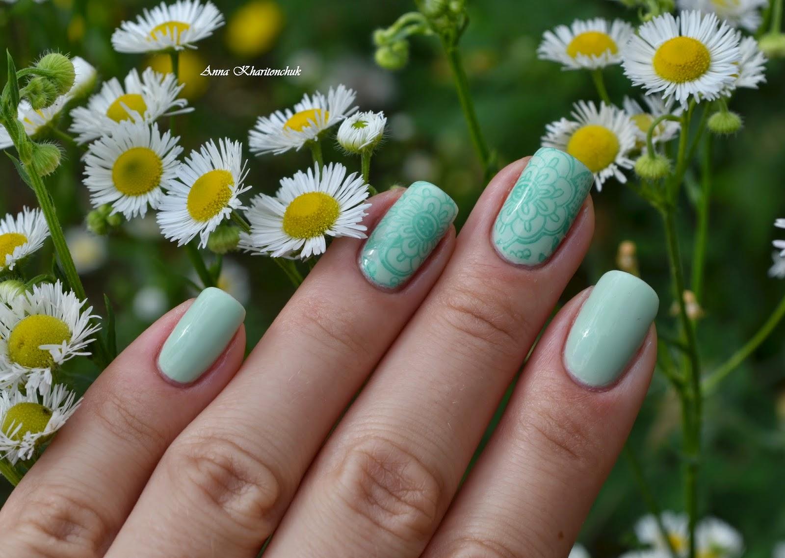 Oriflame Veryme Spring Tenderness Tend Green и стемпинг Born Pretty Store