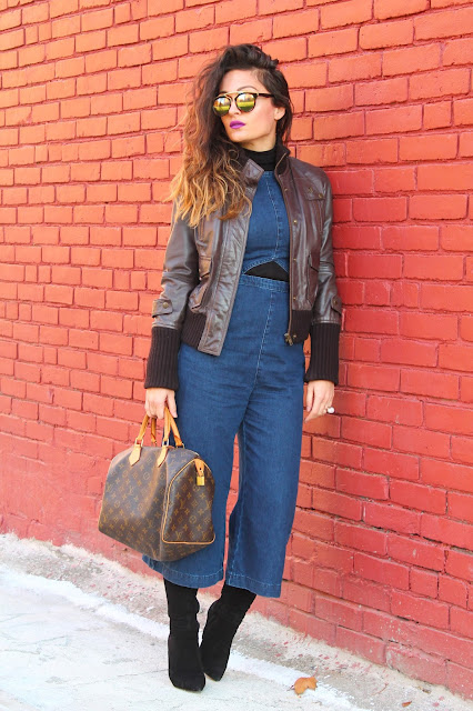 70s trend, jumpsuits, over the knee boots, coulottes, toronto fashion blogger, kako nositi rolk, louis vuitton tasna, 70s style, seventies style