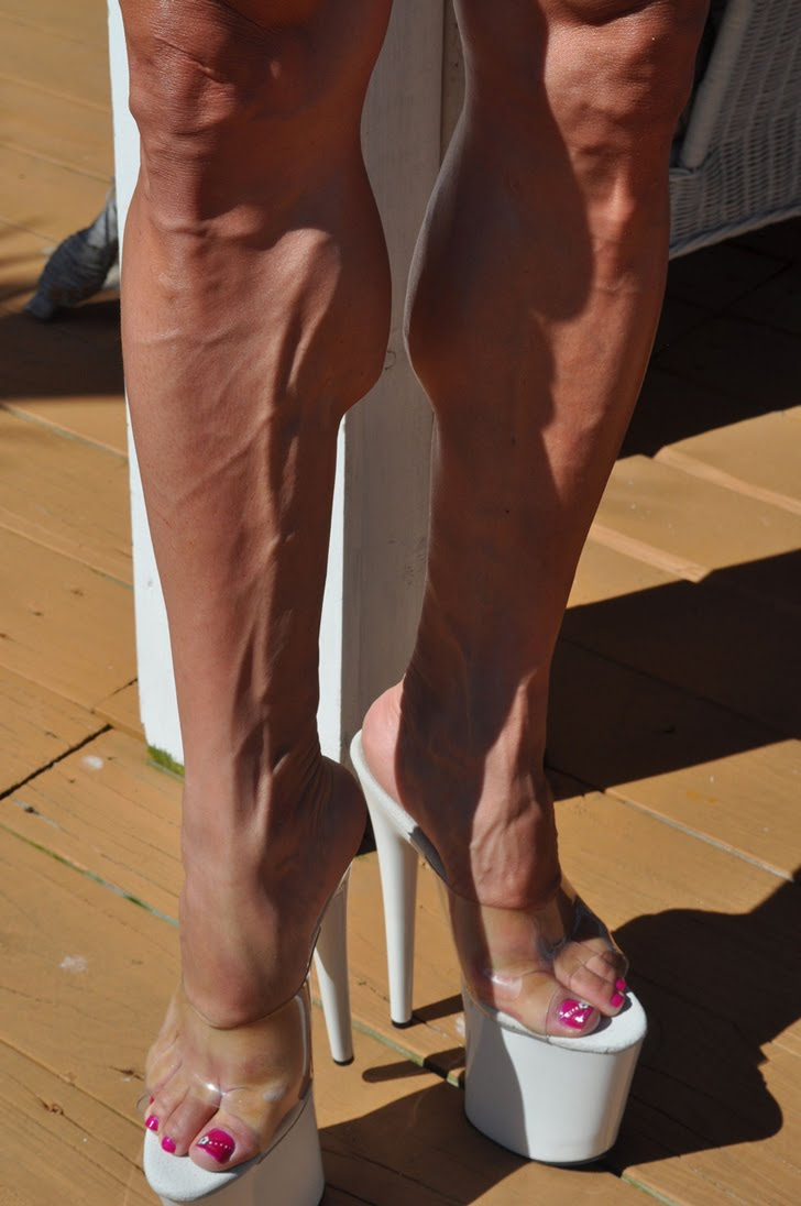 Betty Viana - Adkins Models Her Ripped, Muscular Calves In Heels