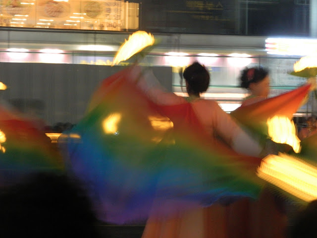 rainbow color dancers of Lantern festival