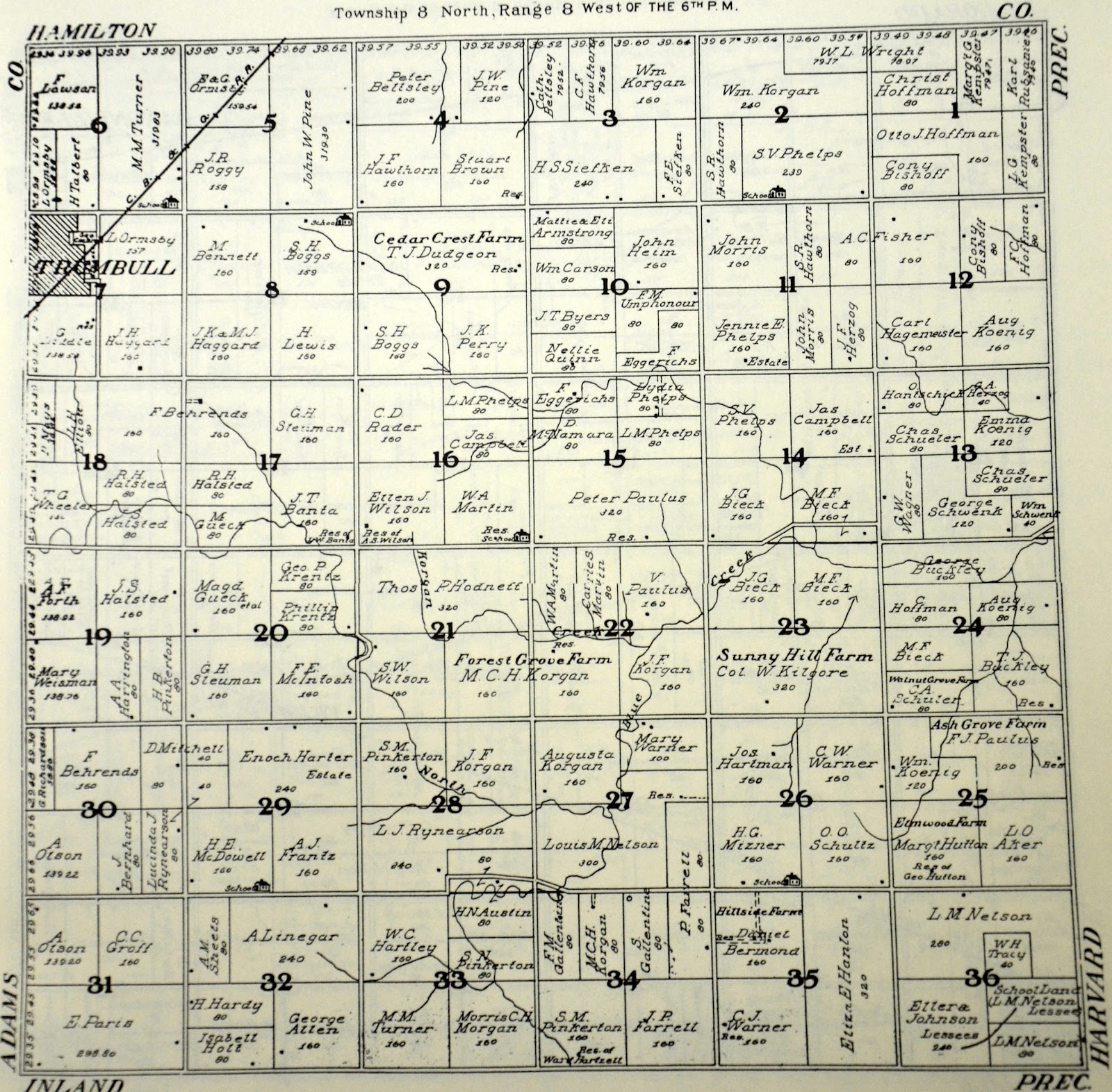 Sutton Nebraska Museum: 1908 Plat Map of Leicester Township, Clay