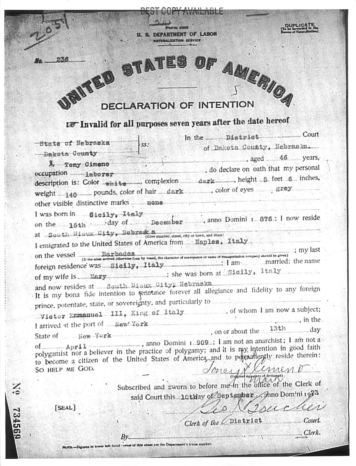 Ancestorpuzzles celebrating citizenship in a new century with nonnu aka tony cimino signed the declaration of intention with an x in 1923 by the time he finally received his certificate of citizenship in 1930 he xflitez Images