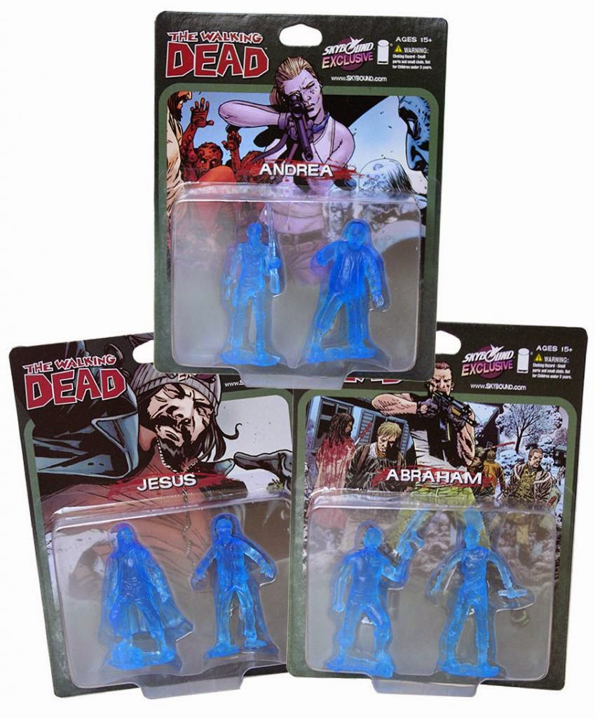 Designer Con 2014 Exclusive Translucent Blue The Walking Dead PVC Figure 2 Packs feat Andrea, Abraham & Jesus