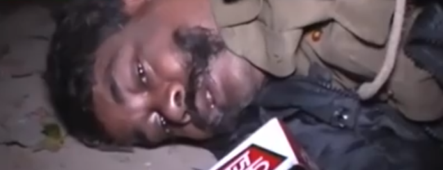 In  a shameful incident, a police constable in uniform was found lying  on street after drinking more than he could handle.  The man was identified as Rajesh Kumar Pandey of Lakhimpur Kheri.  An India Today video shows him lying helplessly on road as a stray dog, which is drawn to him licks his face. He also cries pitifully and says save me.