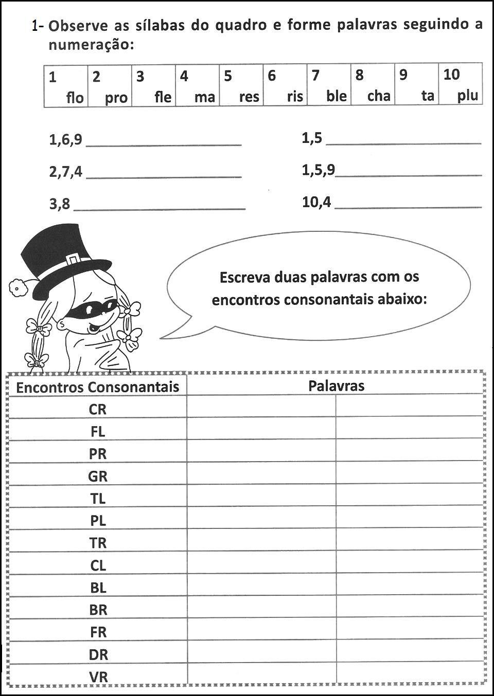 Atividades De Portugu  S  Encontro Consonantal E D  Grafo   Parte 2
