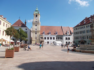 Bratislava Old Town Square Centre with Town Hall.