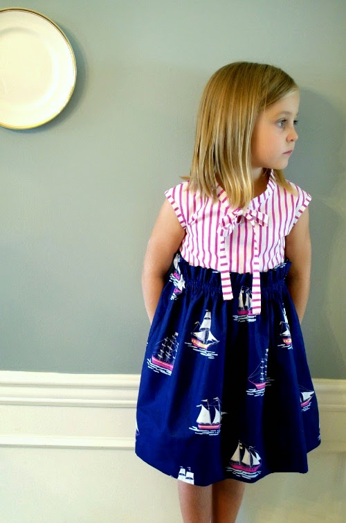 Nautical fabric dress sewing