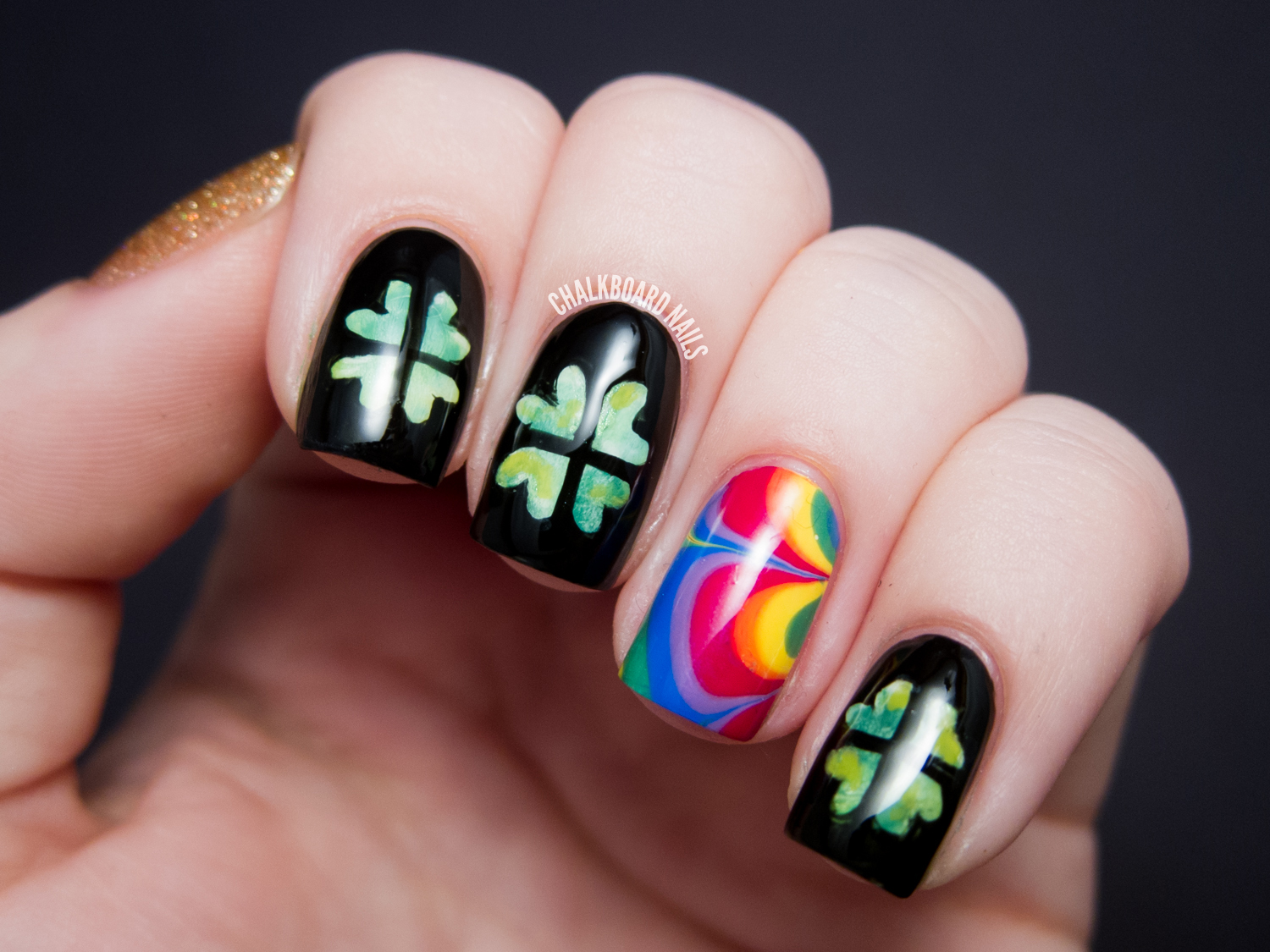 Shamrocks, Rainbows, and Gold, Of Course! | Chalkboard Nails | Nail ...