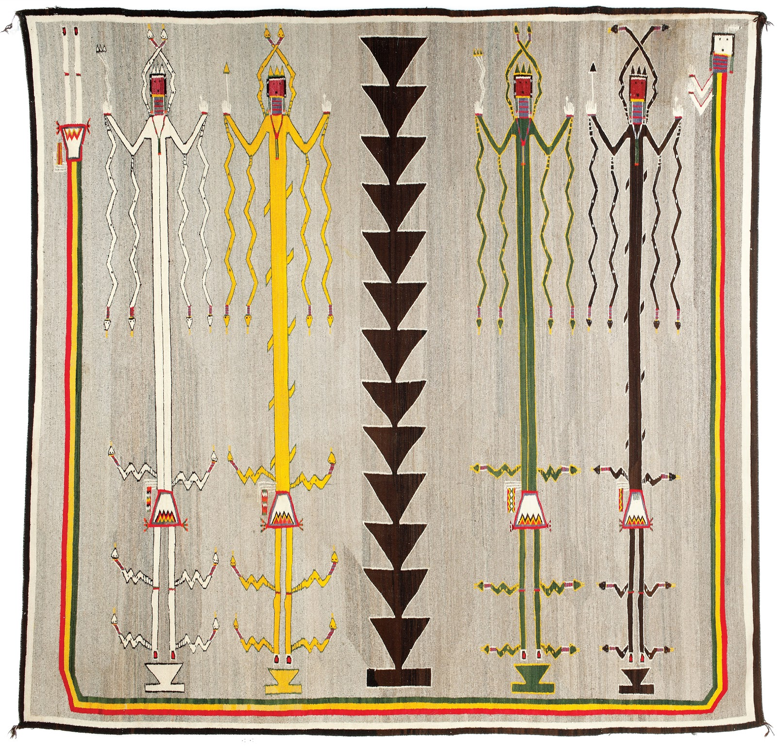 Starr review december 2012 blossom nez yeh active 1920s navajo windway sandpainting textile wind people dressed clothed in snakes 1920 23 handspun natural wool and synthetic biocorpaavc Images