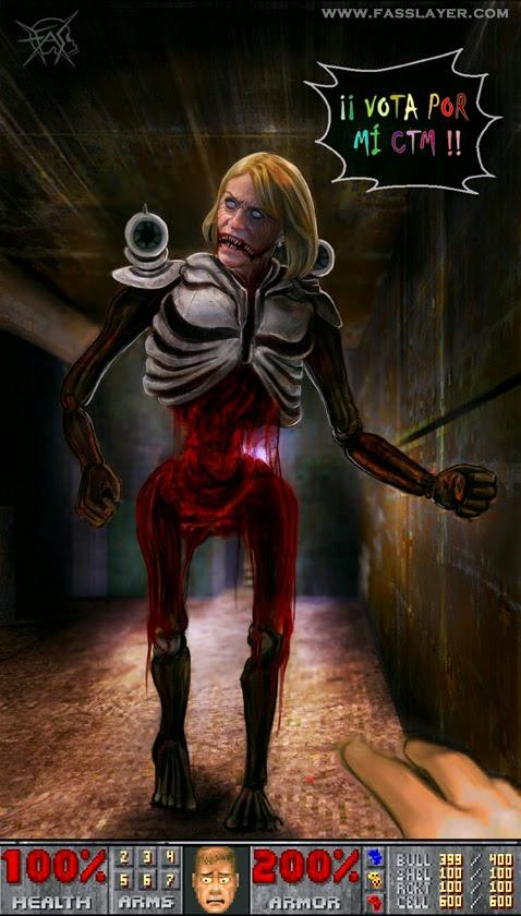 evelyn matthei horror illustration