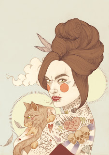 Tattooed Girl and Cat