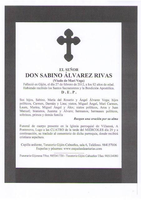 Lourido esquela funeral sabino lvarez rivas for Esquelas funeraria el mueble