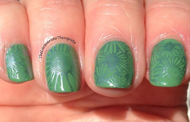 stamp; green; vividlacquer; zoya; floral; metallic; sallyhansen