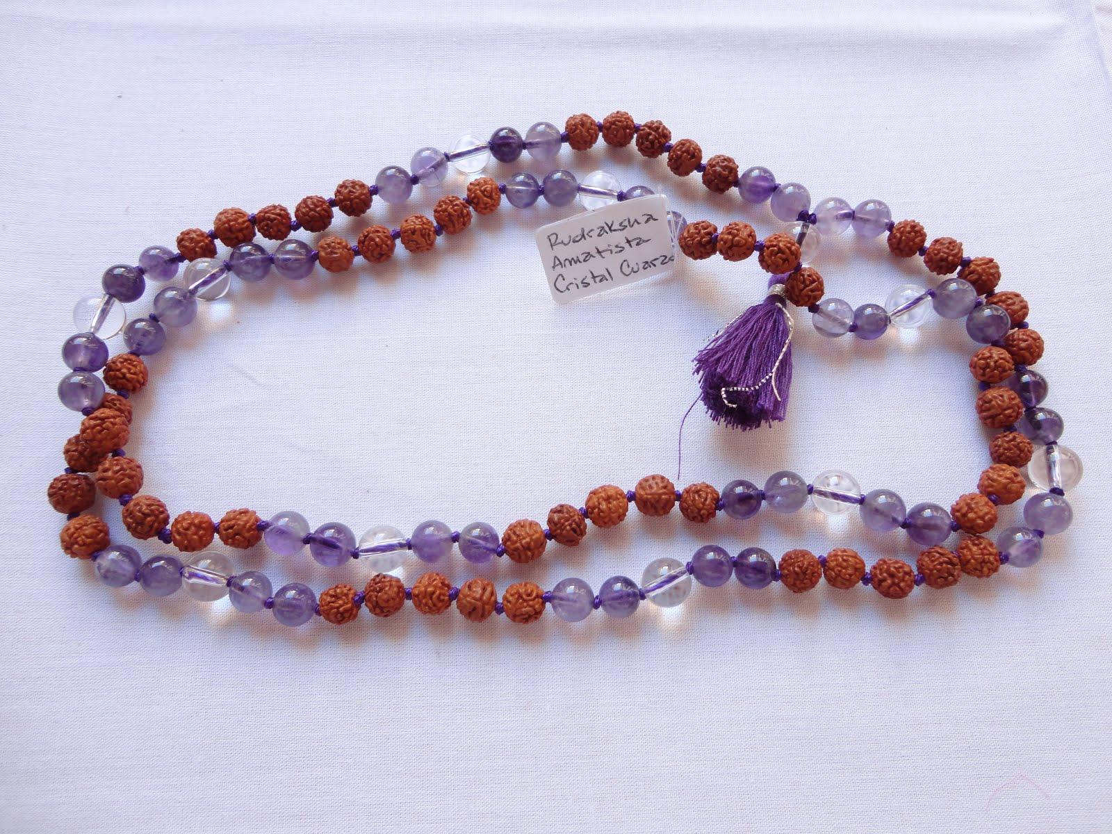 Japamala de Sphatika, Amatista y Rudraksha