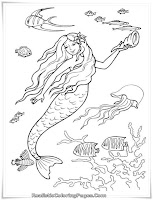 Mermaid Barbie Playing With Sea Animals Coloring Pages