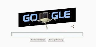 Google Doodle hari ini, Suksesnya Pendaratan Pertama Philae di Nukleus Komet