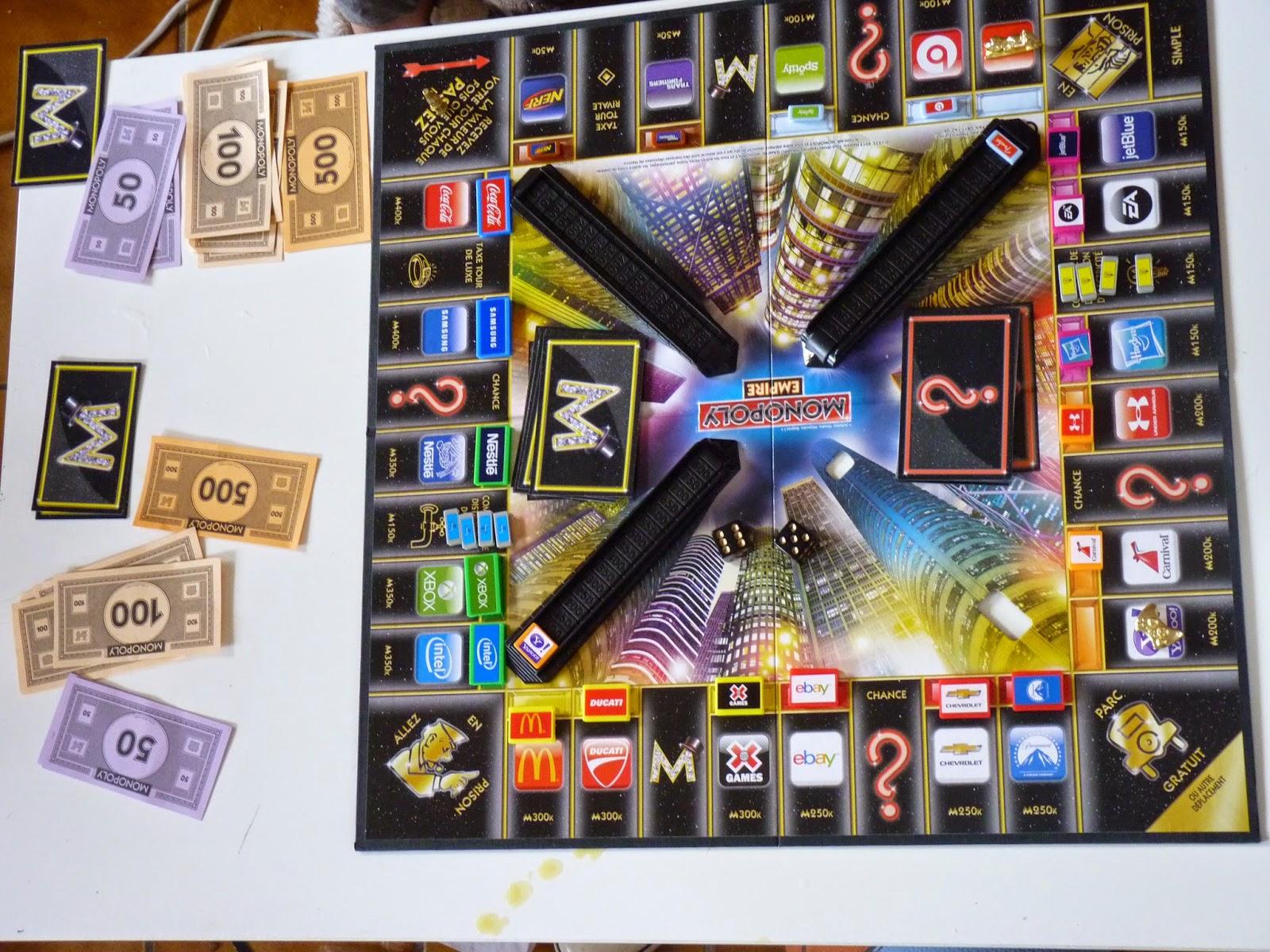 monopoly empire, jeux vidéo, jeux marque, jeux connu, s'occuper, mc donald, yahoo, ducatti, week end pluvieux, beat audio, nerf, spotify, jetblue, EA, compagnie d'electricité, hasbro, under armour, carnival, Xgames, itel, xbox, coca cola, samsung, compagnie d'eau, paramount,