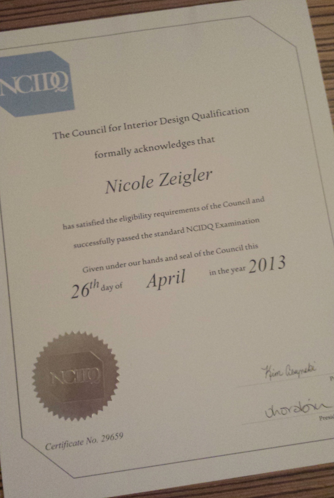 Its Official Im NCIDQ Certified Enzy Design