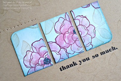Close up of piercing and sentiment using Delightful Dozen from Stampin' Up