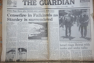 The Guardian Newspaper headlines from the Falklands War: 15 June 1982- Ceasefire in Falklands as Stanley Surrended