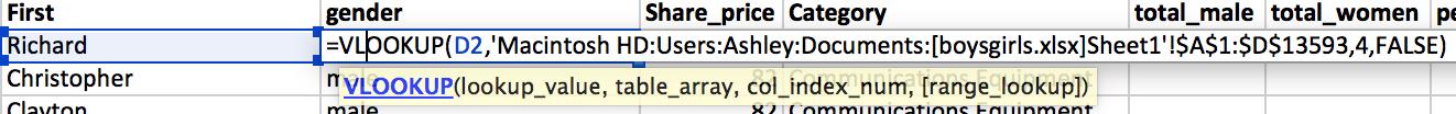Excel vlookup data