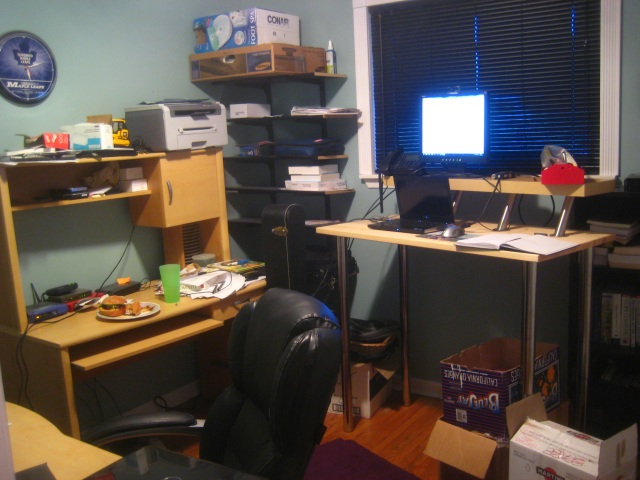 Standing desk at right right, old desk at left, third desk (!) at bottom left