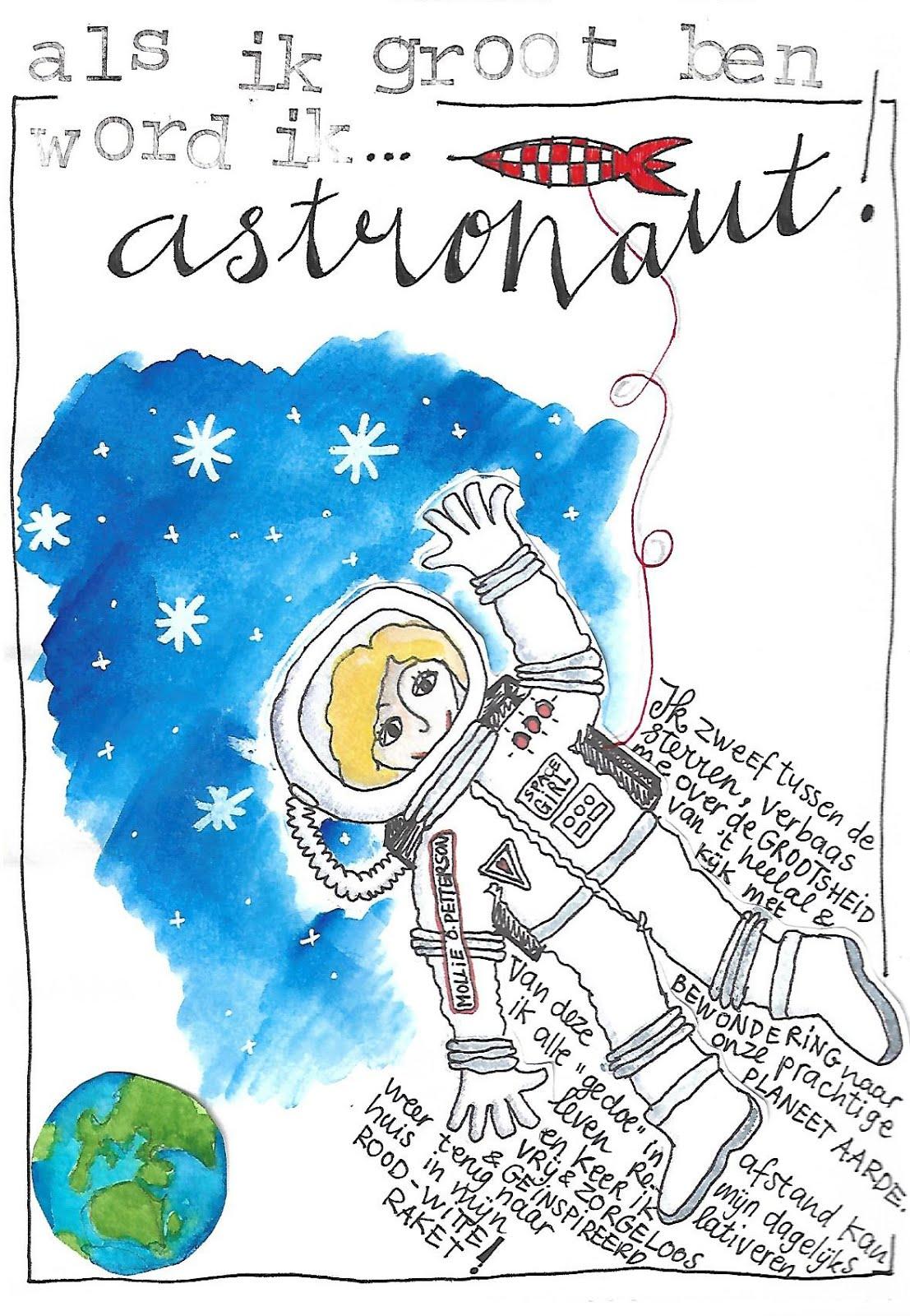 wat wil Mollie worden als ze groot is... astronaut!