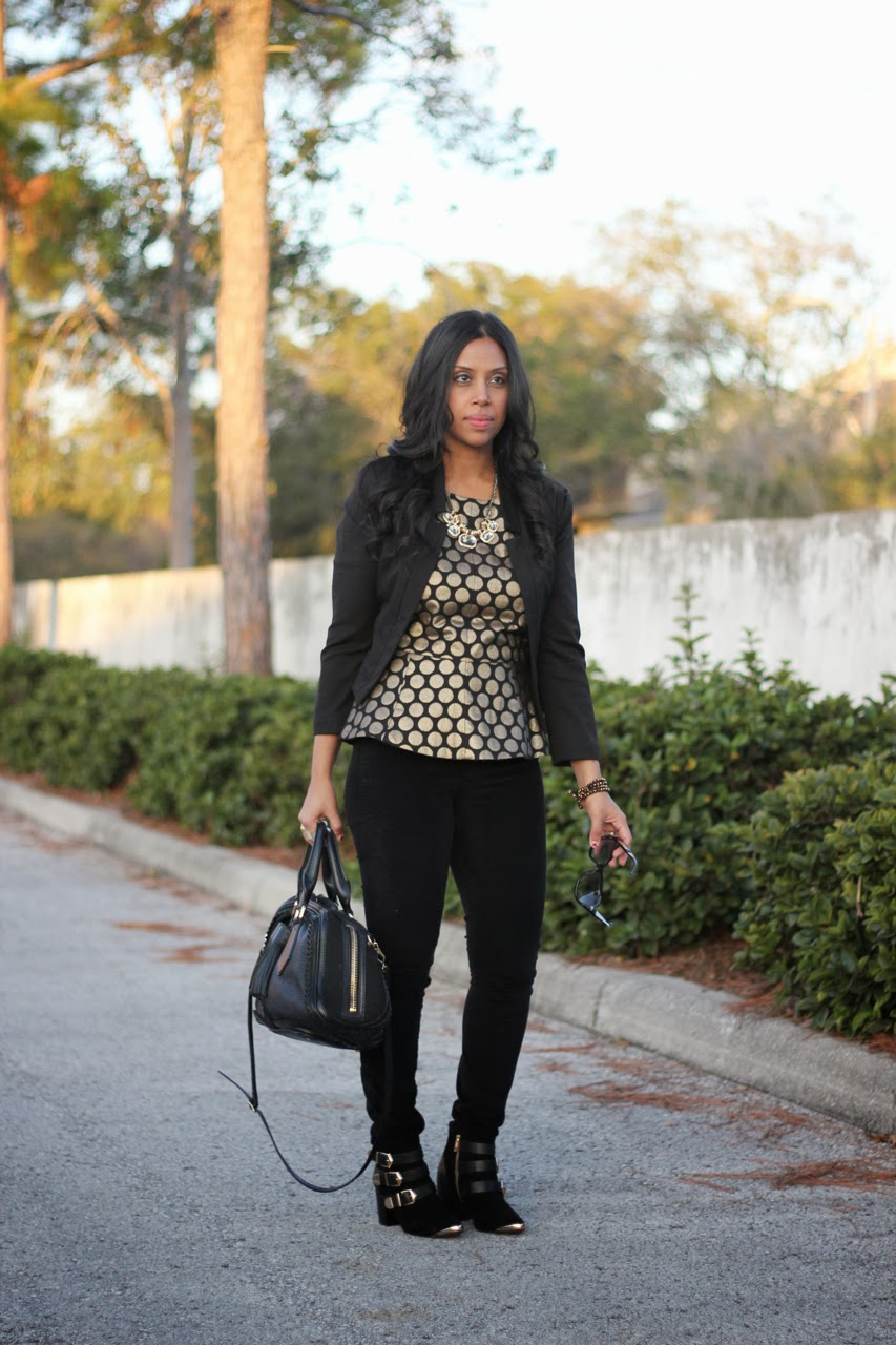 black and gold polka dot peplum report signature fairfield vince camuto burberry marc jacobs