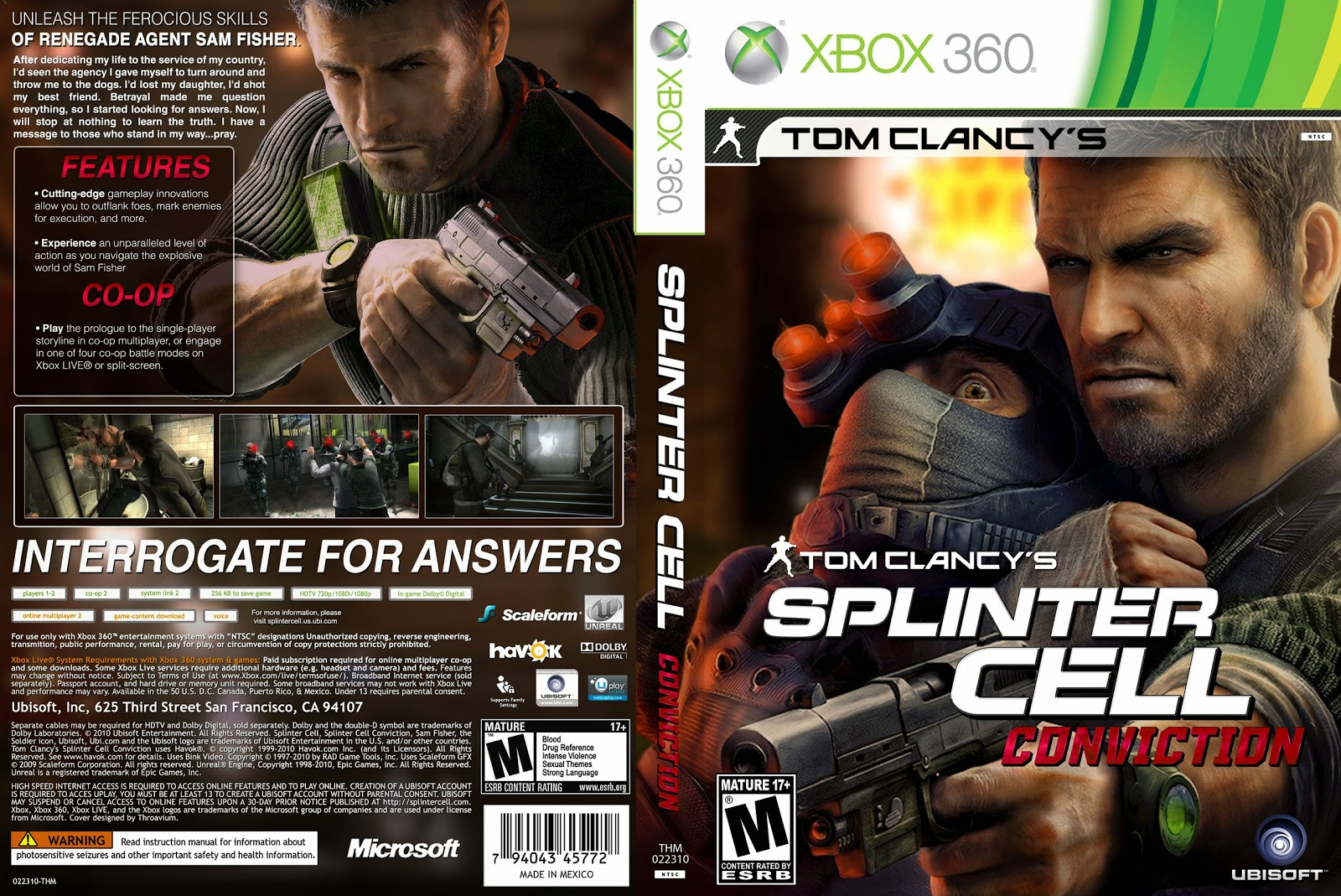 Capa Splinter Cell Conviction Xbox 360