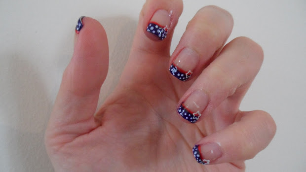 4th of july french tip nails