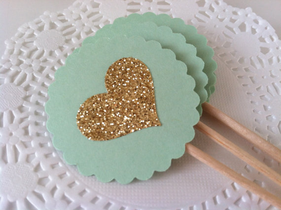 mint heart cake toppers