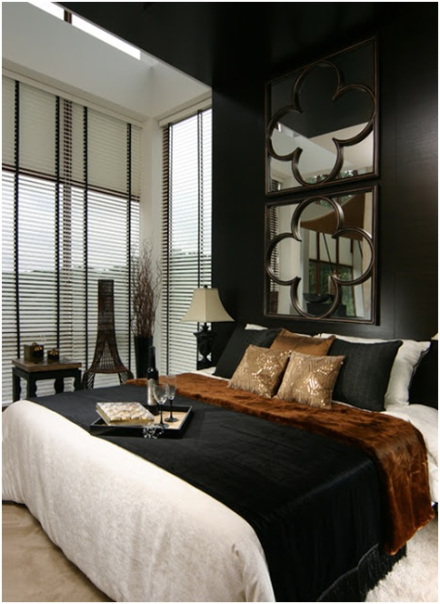 Elegant bedroom in brown black and white colors bedroom for Dark brown bedroom designs