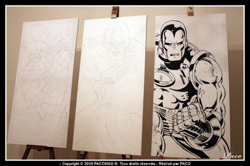 repassage desins Iron Man sur toile