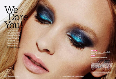 photographe beauté paris, blue smokey eyeshadow, cosmopolitan beauty, model pernilla frasander